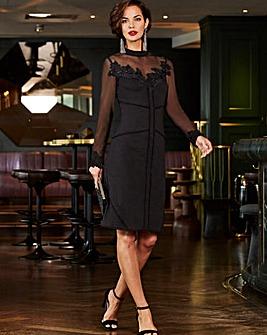 Joanna Hope Sheer Yoke Shift Dress