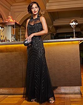 Joanna Hope Sheer Yoke Beaded Maxi Dress
