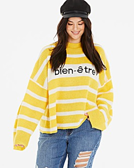 Neon Rose Striped Slogan Jumper