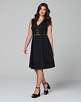 Lovedrobe Deep V Skater Dress With Geo Trim