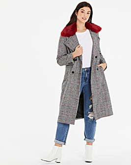 Neon Rose Checked Maxi Coat With Removable Faux Fur Collar