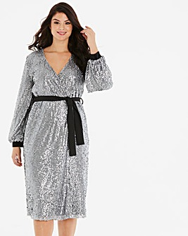 Little Mistress Sequin Wrap Dress
