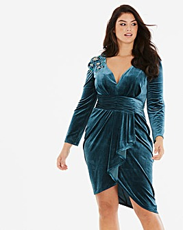 Little Mistress Velvet Wrap Midi Dress