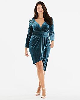 Little Mistress Velvet Wrap Midi Dress
