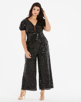 Little Mistress Sequin Palazzo Jumpsuit