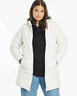 Cream Water Resistant Padded Coat with Side Zips