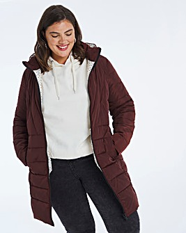 Chocolate Water Resistant Padded Coat with Side Zips