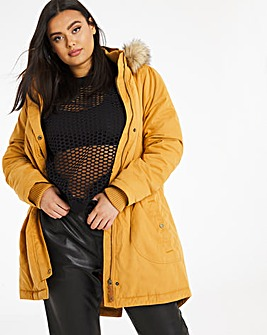 Mustard Faux Fur Lined Parka Coat