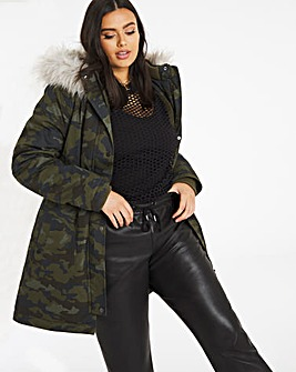 Camo Faux Fur Lined Parka