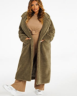 Khaki Longline Teddy Faux Fur Coat