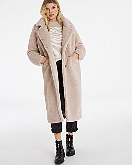 Mink Longline Teddy Faux Fur Coat