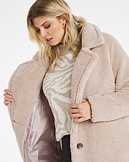 Mink Longline Teddy Faux Fur Coat