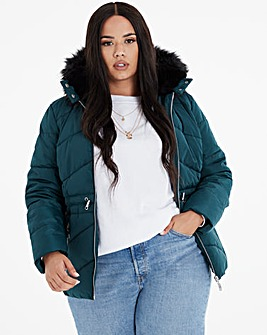 Forest Green Luxe Hooded Short Padded Coat