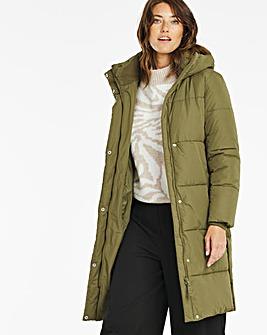 Khaki Long Padded Duvet Coat