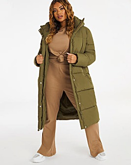 Khaki Long Padded Duvet Coat