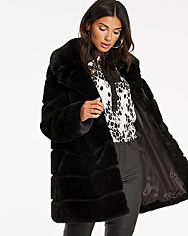 Black Stepped Faux Fur Coat