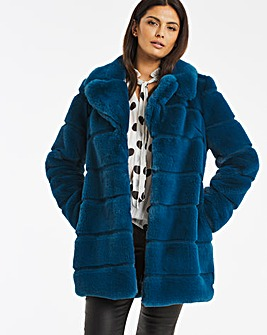 Stepped Faux Fur Coat