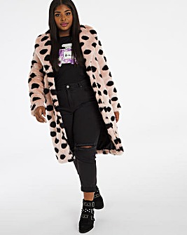 Spot Print Faux Fur Coat