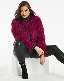 Magenta Shaggy Faux Fur Coat