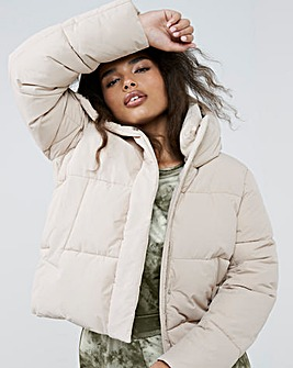 Beige Short Padded Duvet Coat