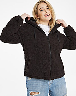 Black Super Soft Hoodied Teddy Fleece Jacket