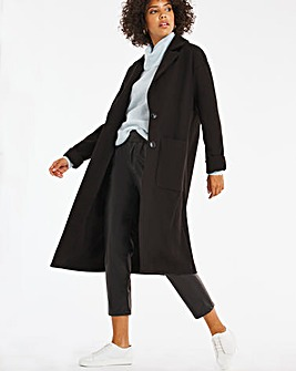 Black Longline Single Breasted Coat