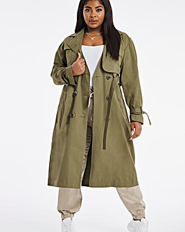 Khaki Oversized Relaxed Trench Coat