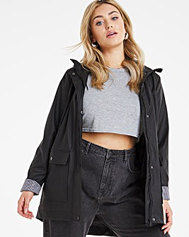 Black Coated Raincoat With Gingham Printed Lining