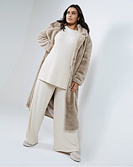 Sand Long Faux Fur Coat