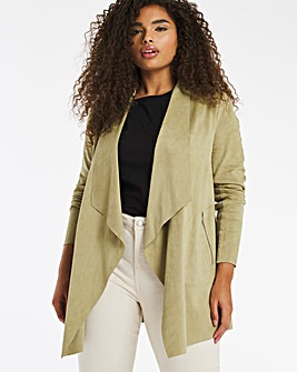 Washed Olive Suedette Waterfall Jacket with Jersey Panel Sleeves