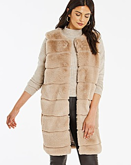 Sand Stepped Faux Fur Gilet