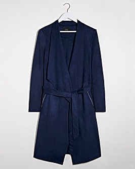 Navy Longline Belted Suedette Waterfall Jacket with Jersey Panel Sleeves