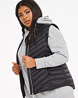 Black Lightweight Puffer Gilet with Recycled Padding
