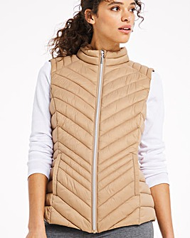Camel Lightweight Padded Gilet with Recycled Wadding