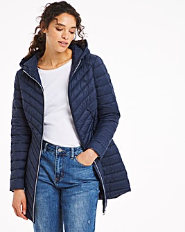Navy Lightweight Padded Mid Length Jacket with Recycled Wadding