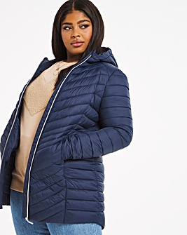 Navy Mid Length Lightweight Puffer Jacket with Recycled Padding