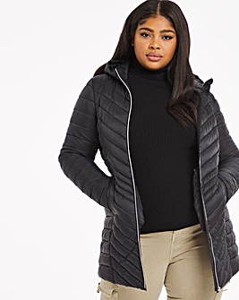Black Mid Length Lightweight Puffer Jacket with Recycled Padding