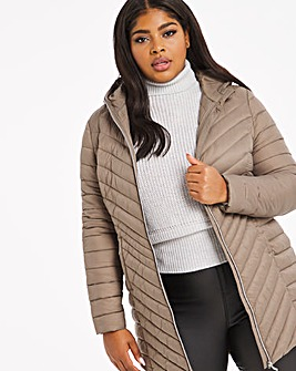 Truffle Mid Length Lightweight Puffer Jacket with Recycled Padding