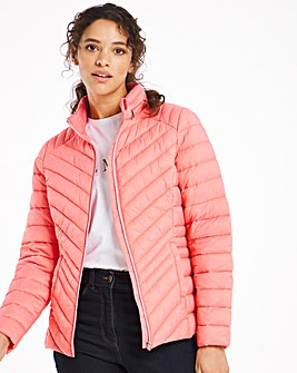 Peach Lightweight Padded Short Jacket With Recycled Wadding and Packaway Bag