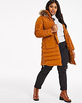 Spiced Orange Luxe Longline Padded Coat