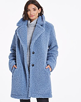 Dusky Blue Faux Fur Teddy Coat