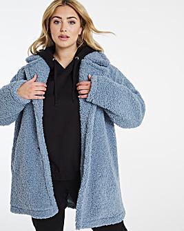 Dusky Blue Faux Fur Teddy Coat