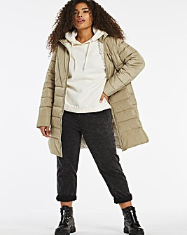 Olive Water Resistant Padded Coat with Side Zips