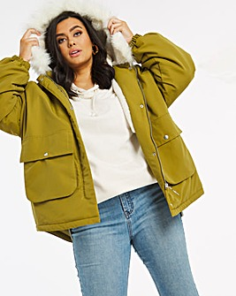 Olive Dip Hem Parka Coat