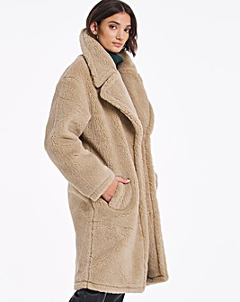 Sand Mid Length Faux Fur Coat
