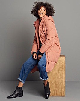 Terracotta Long Padded Duvet Coat