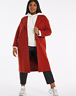 Rust Longline Single Breasted Coat