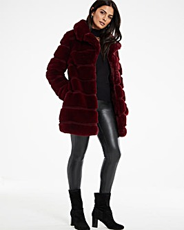 Burgundy Stepped Faux Fur Coat