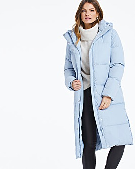 Dusky Blue Long Padded Duvet Coat