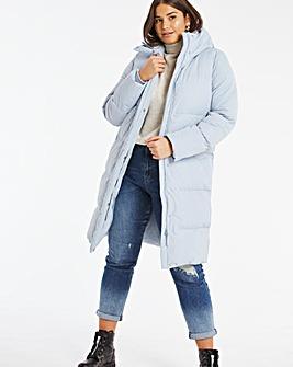 Dusky Blue Long Padded Duvet Coat